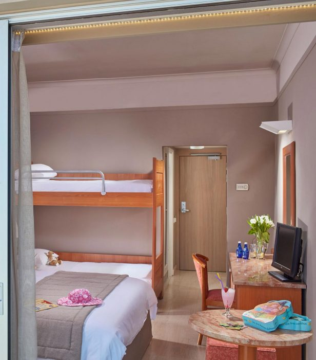 AKS Hinitsa Bay Hotel Family standard room with bunk and mountain view